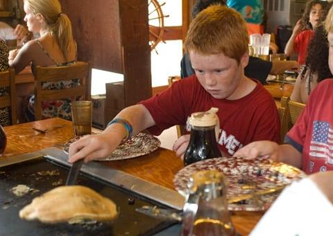 Pancake breakfast at DeLeon Springs' Old Spanish Mill.
