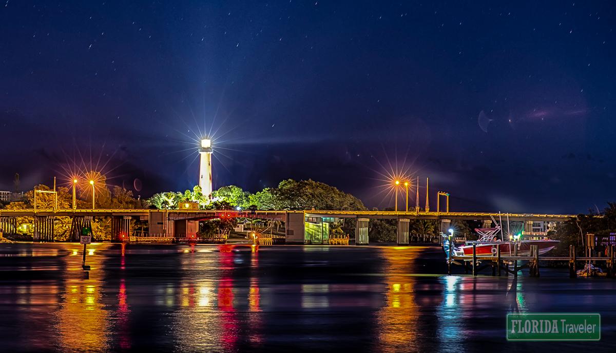 Juniper Florida Inlet Lighthouse at Night