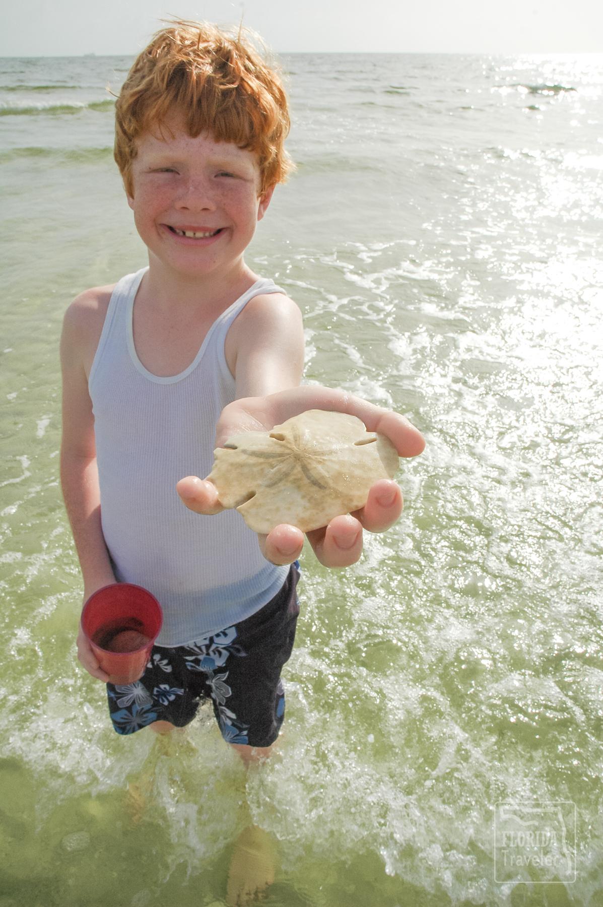 boy with sand dollar